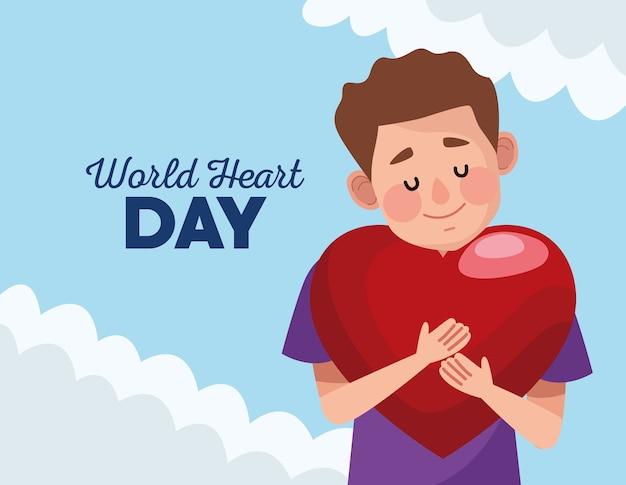 Journée mondiale du cœur avec un homme serrant le cœur.