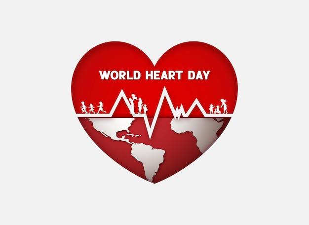 Journée mondiale du cœur et illustration des soins de santé. concept de journée de sensibilisation médicale, style papier découpé.