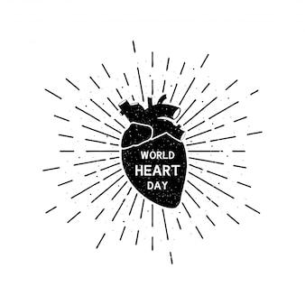 Journée mondiale du cœur avec lettrage. illustration vintage de vacances grunge