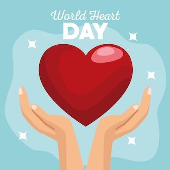 Journée mondiale du cœur avec les mains protégeant le cœur sur fond bleu.