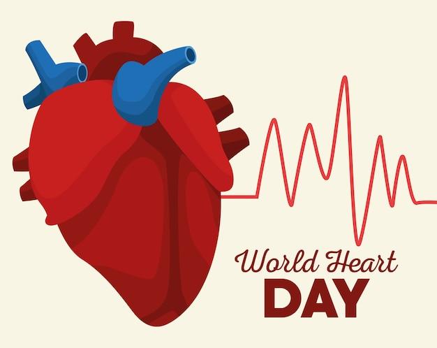 Journée mondiale du cœur avec organe avec ligne d'impulsion de cardiologie.