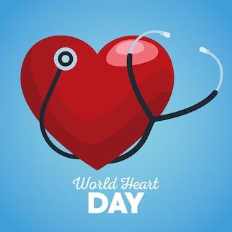 Journée mondiale du cœur avec stéthoscope sur fond bleu.