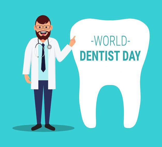 Journée mondiale du dentiste. illustration avec médecin et dent