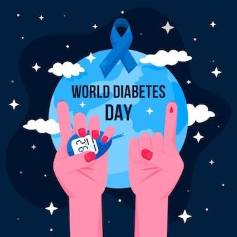 Journée mondiale du diabète au design plat