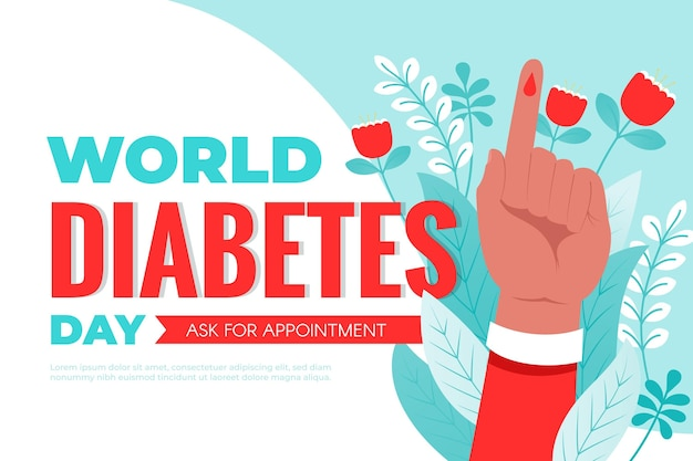 Journée mondiale du diabète design plat