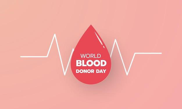 Journée mondiale du don de sang icône de goutte de papier rouge avec fond de texte et bannière