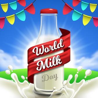 Journée mondiale du lait avec une bouteille de lait réaliste