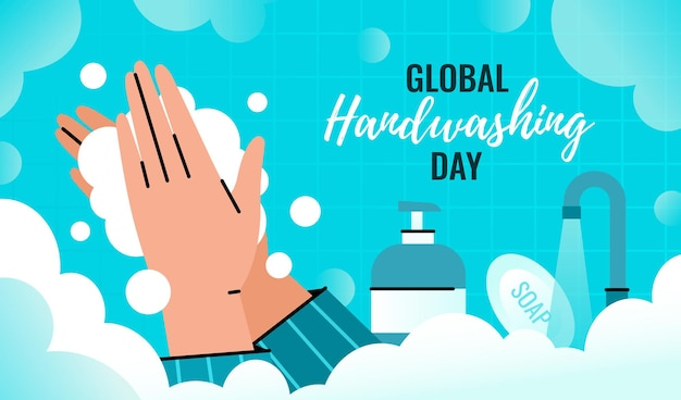 Journée mondiale du lavage des mains. la personne se lave les mains avec un distributeur de mousse pour prévenir l'infection.