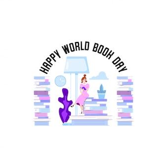Journée mondiale du livre, affiche de vacances - design plat.
