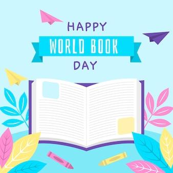 Journée mondiale du livre au design plat