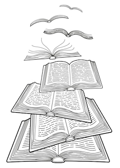 Journée Mondiale Du Livre. Concept Des Livres Ouverts Volant Comme Des Oiseaux. Coloriage Détaillé Pour Adultes Vecteur Premium