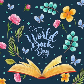 Journée mondiale du livre design aquarelle
