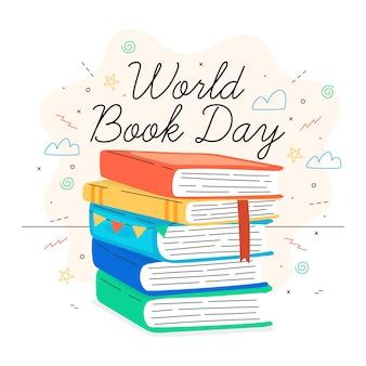Journée mondiale du livre design dessiné à la main