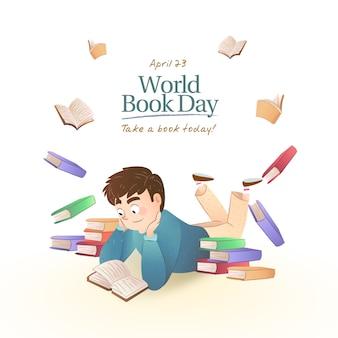 Journée mondiale du livre design plat