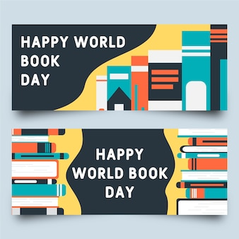 Journée mondiale du livre avec diverses bannières de conférences
