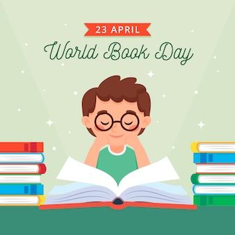 Journée mondiale du livre avec lecture de garçon