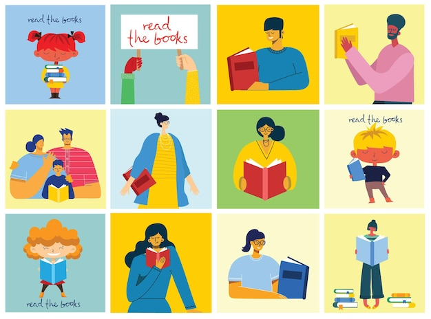 Journée mondiale du livre, lecture des livres et festival du livre dans le style plat. les gens s'assoient, se tiennent debout, marchent et lisent un livre
