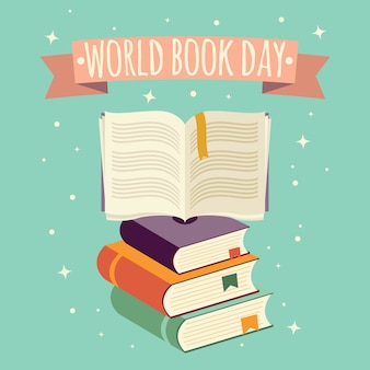 Journée mondiale du livre, livre ouvert avec bannière festive et pile de livres