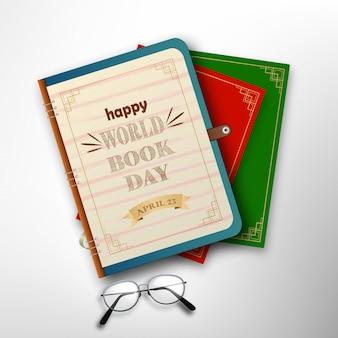 Journée mondiale du livre avec pile de livres