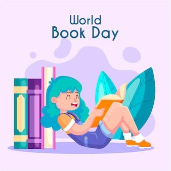 Journée mondiale du livre de style plat