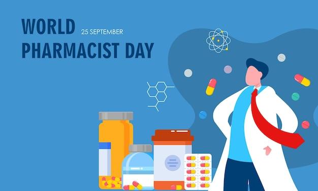 Journée mondiale du pharmacien. concept de logo de médecin et de pilules