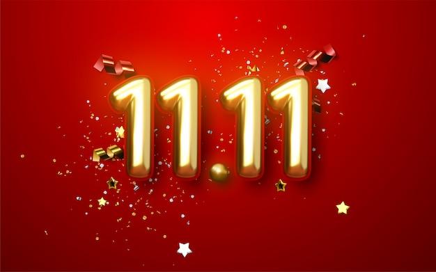 Journée mondiale du shopping 11.11. vente mondiale. grande vente de l'année. ballons d'or et noirs réalistes. design fond chiffres métalliques date 11.11