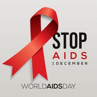 Journée mondiale du sida, 1er décembre, ruban rouge de sensibilisation au sida.