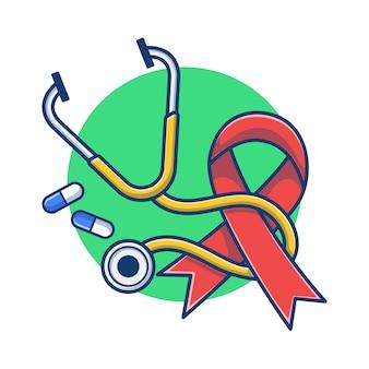 Journée mondiale du sida avec illustration de dessin animé de stéthoscope et capsule