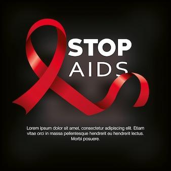 Journée mondiale du sida avec la main et la bannière de ruban