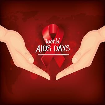 Journée mondiale du sida avec les mains et le ruban