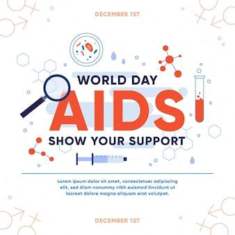Journée mondiale du sida plat - concept