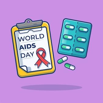 Journée mondiale du sida sur le presse-papiers avec illustration de dessin animé de bande de pilules capsule
