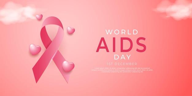 Journée mondiale du sida réaliste avec une décoration d'amour 3d flottant entre l'arrière-plan