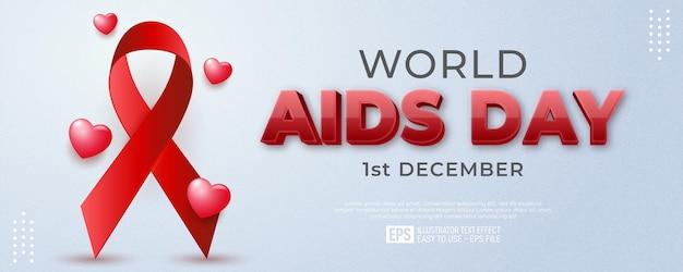 Journée mondiale du sida réaliste avec décoration d'amour 3d flottante