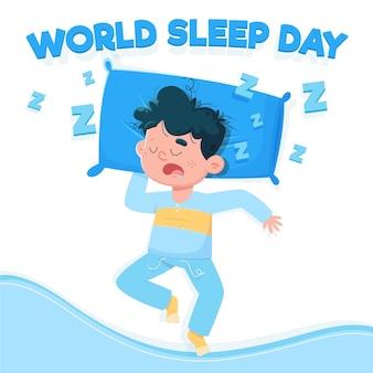 Journée mondiale du sommeil de l'homme endormi