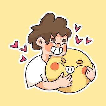 Journée mondiale du sourire, dessin animé mignon souriant, gens souriant heureux, riant, profitant de l'illustration de dessin animé journée mondiale des coeurs, dessin animé mignon coeur