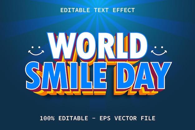 Journée mondiale du sourire avec effet de texte modifiable de style superposé moderne