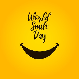 Journée mondiale du sourire sur fond jaune.