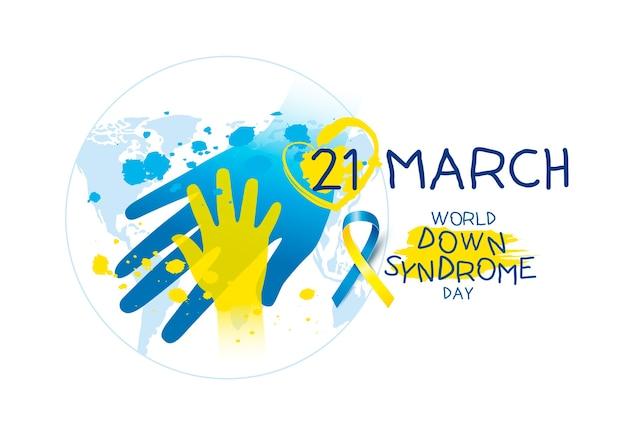 Journée mondiale du syndrome de down sur fond blanc