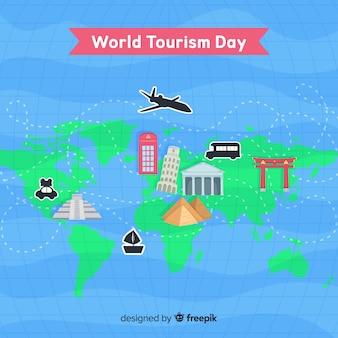Journée mondiale du tourisme avec carte