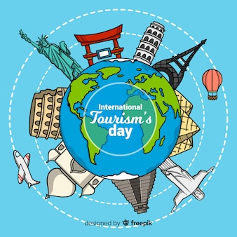 Journée mondiale du tourisme dans un style dessiné à la main