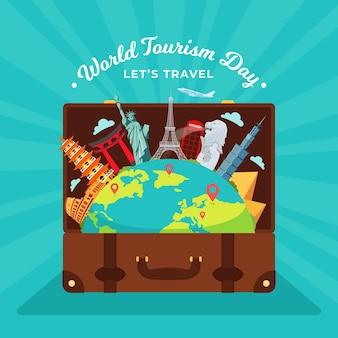 Journée mondiale du tourisme design plat avec bagages