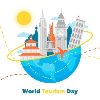 Journée mondiale du tourisme design plat