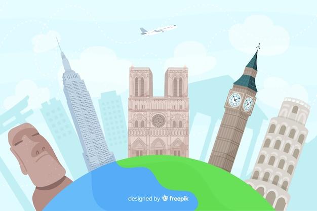 Journée mondiale du tourisme dessinée à la main avec des points de repère