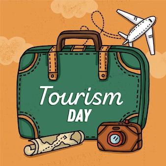 Journée mondiale du tourisme dessinée à la main