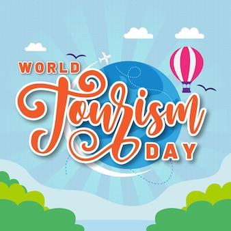 Journée mondiale du tourisme avec fond nature