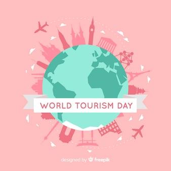 Journée mondiale du tourisme avec monde et monuments
