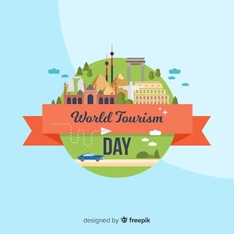 Journée mondiale du tourisme avec des monuments
