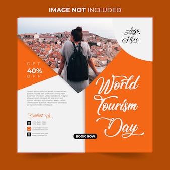 Journée mondiale du tourisme publication sur les réseaux sociaux design