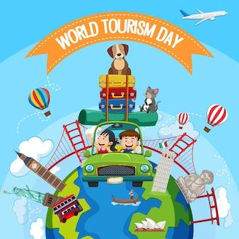 Journée mondiale du tourisme avec des touristes et des éléments de monuments touristiques célèbres